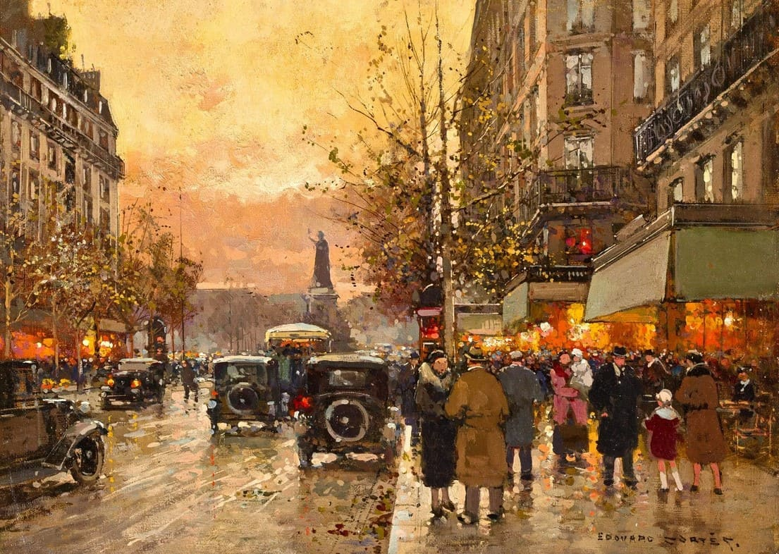 Художник Edouard Leon Cortes (1882 – 1969). Прогулка по Парижу
