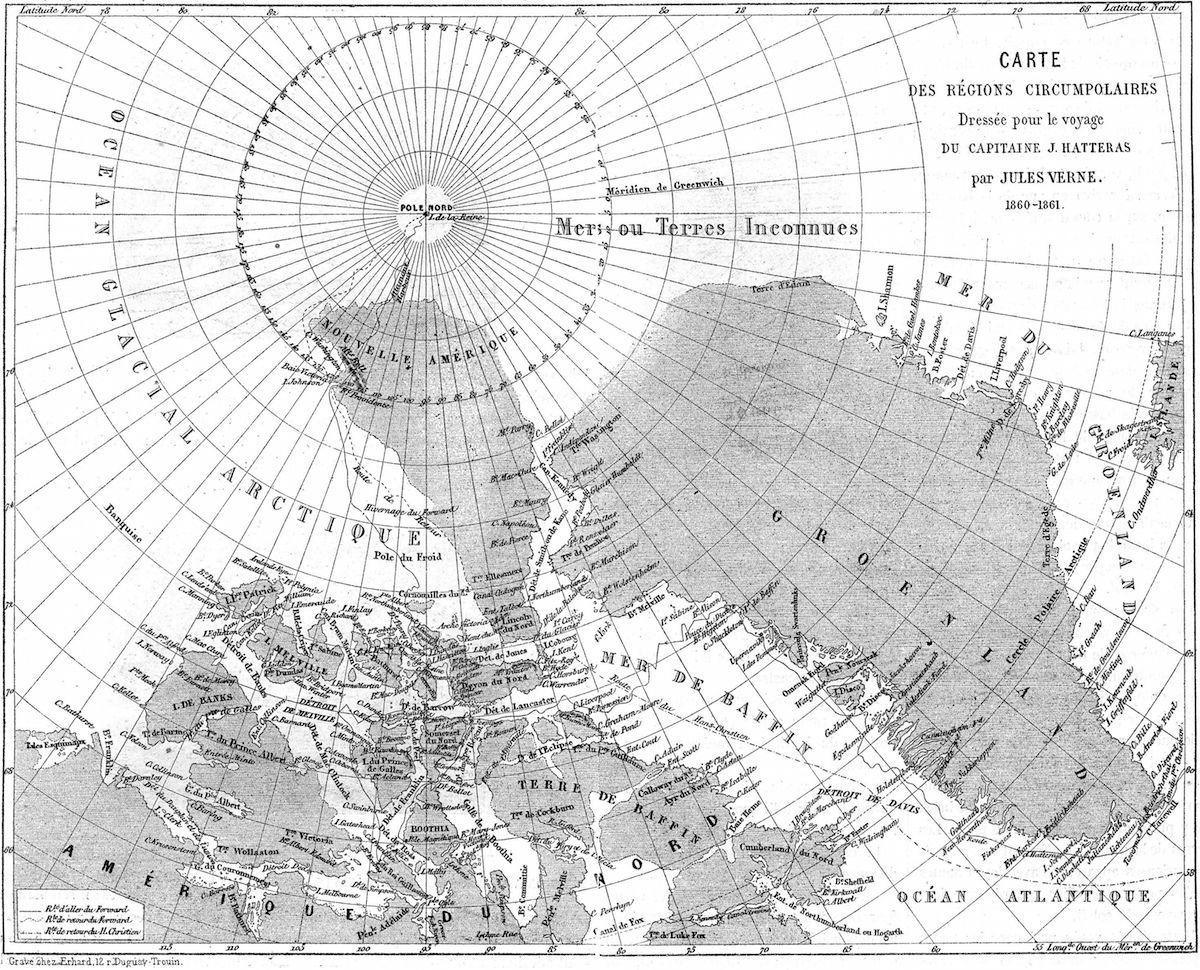 Идея доктора Клоубонни из романа Жюля Верна «Путешествие и приключения капитана Гаттераса» (1866).