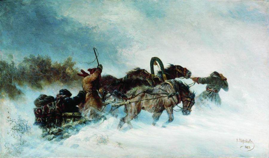 Художник Николай Сверчков (1817 — 1898). Эй, тройка! Птица тройка.