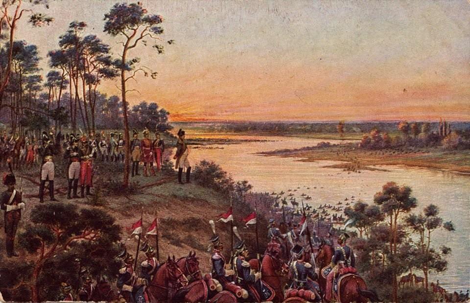 Переход войск Наполеона ночью через р. Неман. Начало Отечественной войны