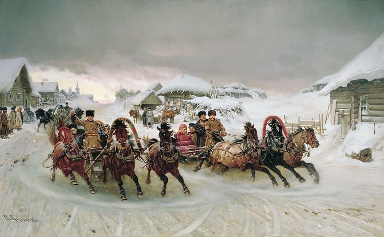 Художник Петр Грузинский (1837 — 1892). Мчится тройка через века
