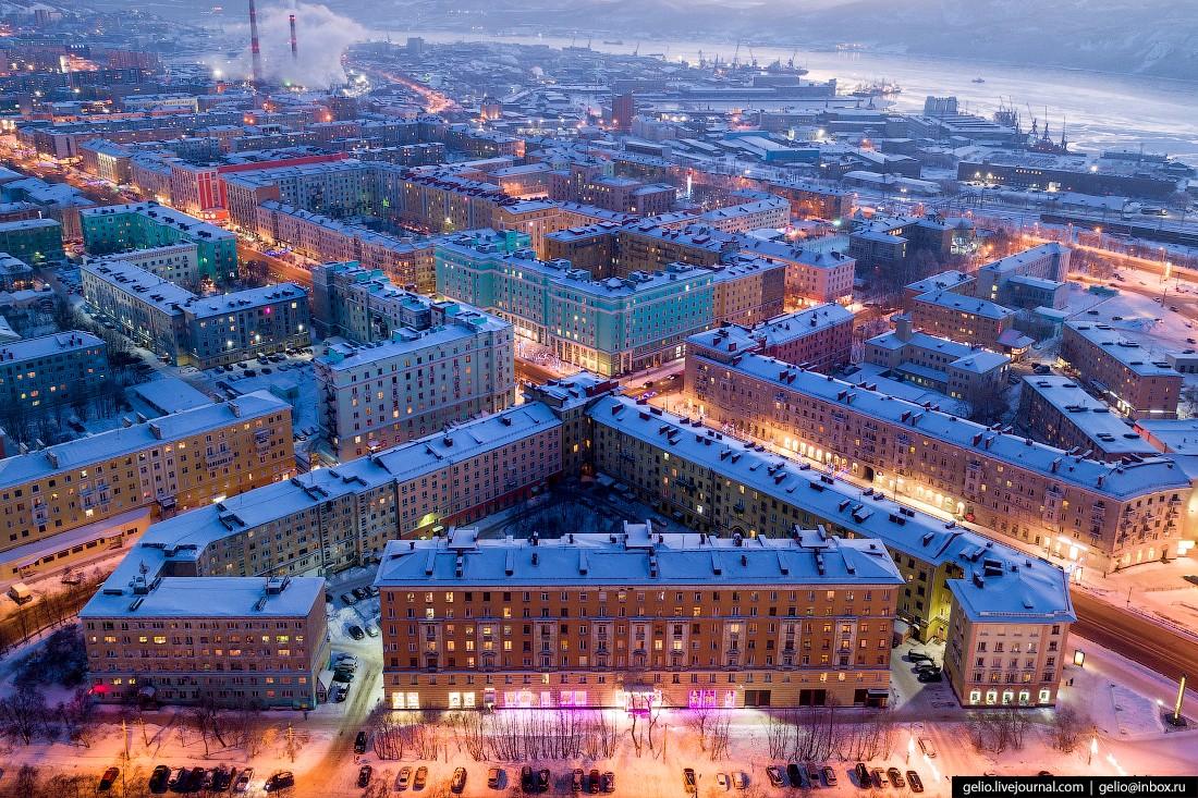 Мурманск с высоты — столица Заполярья и город моряков (76 фото)
