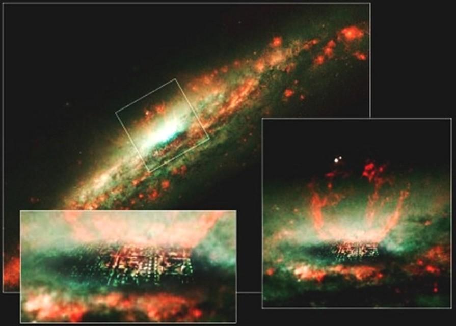 Город, вмонтированный в снимок галактики NGC3079.
