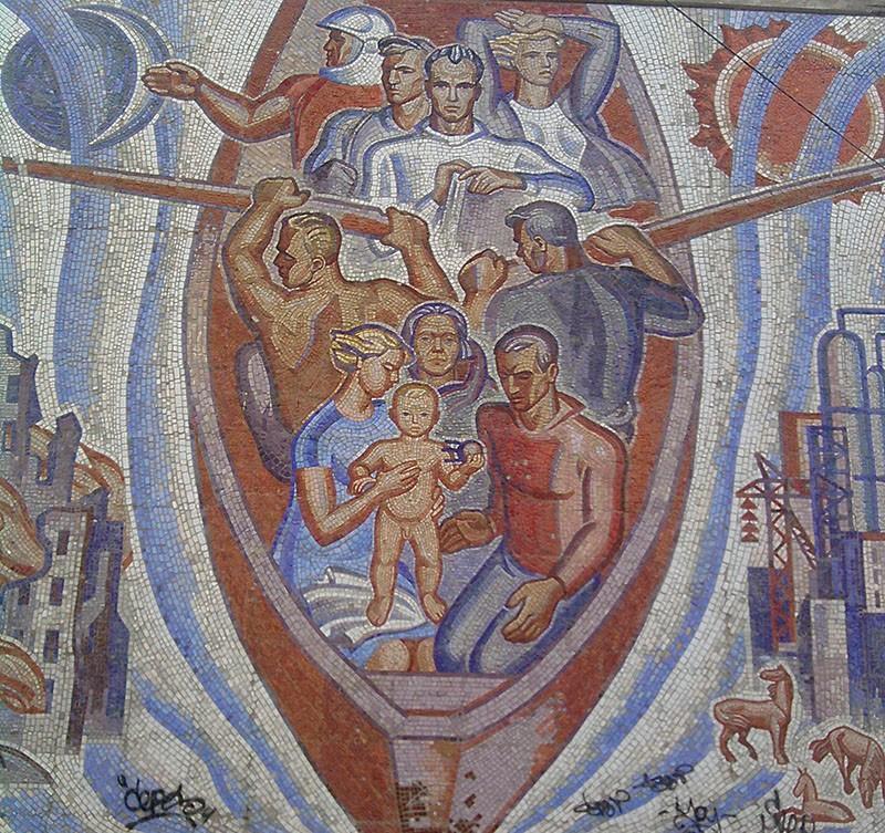 Мозаичное панно «Волга – русская река» (смальта, керамика), г. Балаково (РСФСР). Кузнецов А.Н. 1966 г.
