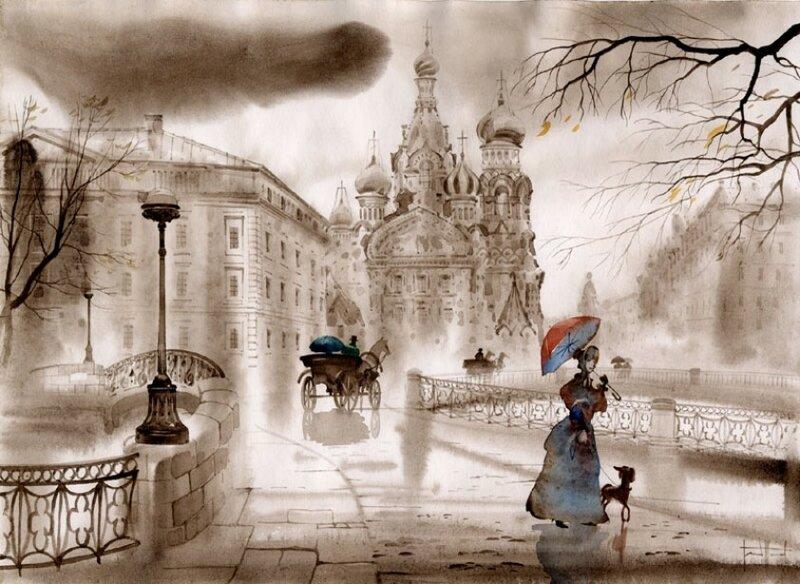 Петербург глазами Сабира и Светланы Гаджиевых... Акварельно-Петербургское настроение ...