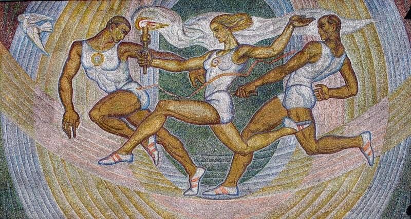 Мозаичное панно</a>«Эстафета» (смальта), г. Москва (РСФСР). Тутеволь К.А. 1972 г.