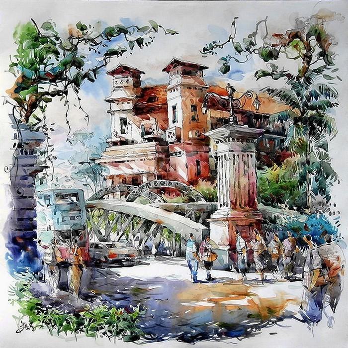 Эмоциональные городские пейзажи акварелиста Нг Вун Лэма (Woon Lam Ng)