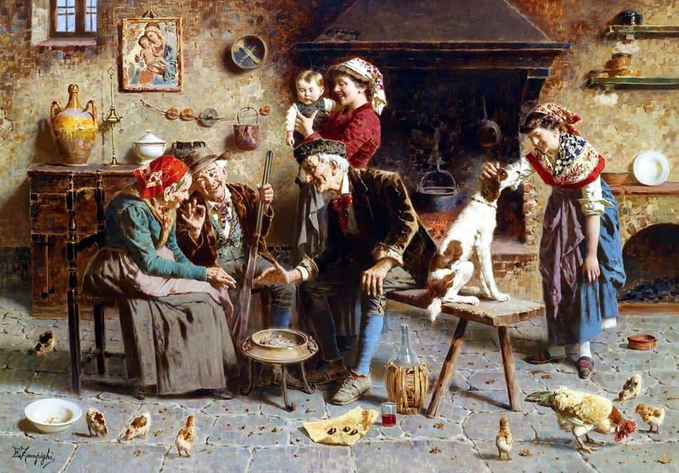 Итальянский художник Eugenio Eduardo Zampighi (1859 – 1944) Идиллия семейного счастья