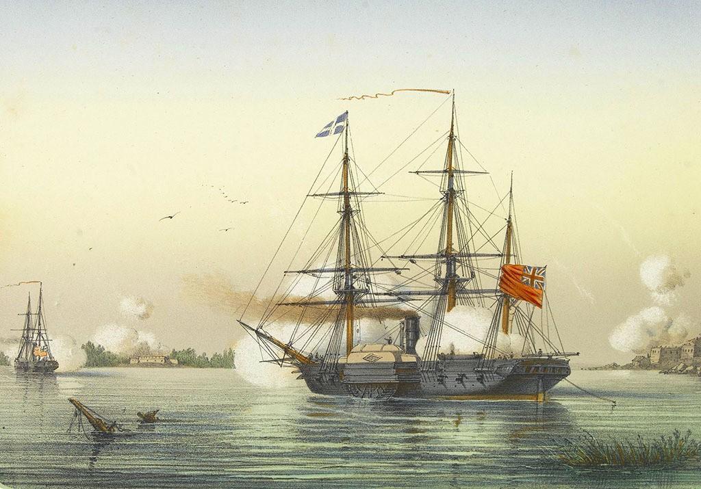Бой русских гребных канонерок батальона морского ополчения с английским паровым кораблём и корветом.