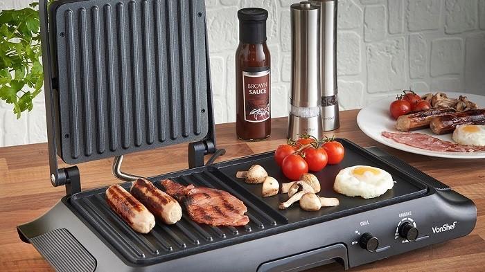 Электрогриль подходит для жарки, запекания и подогрева блюда. / Фото: endever.su