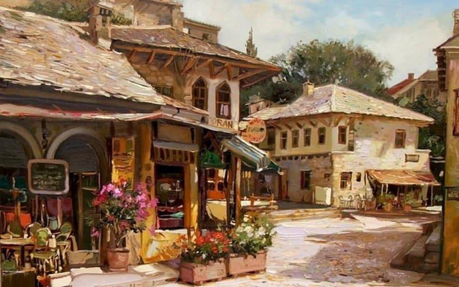 Художник Shymski Andras. На старых уютных улочках