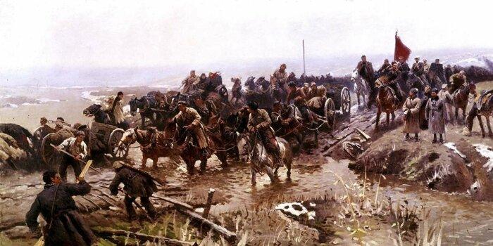 Гражданская война не способствовала отказу от бурлаков. |Фото: fishki.net.