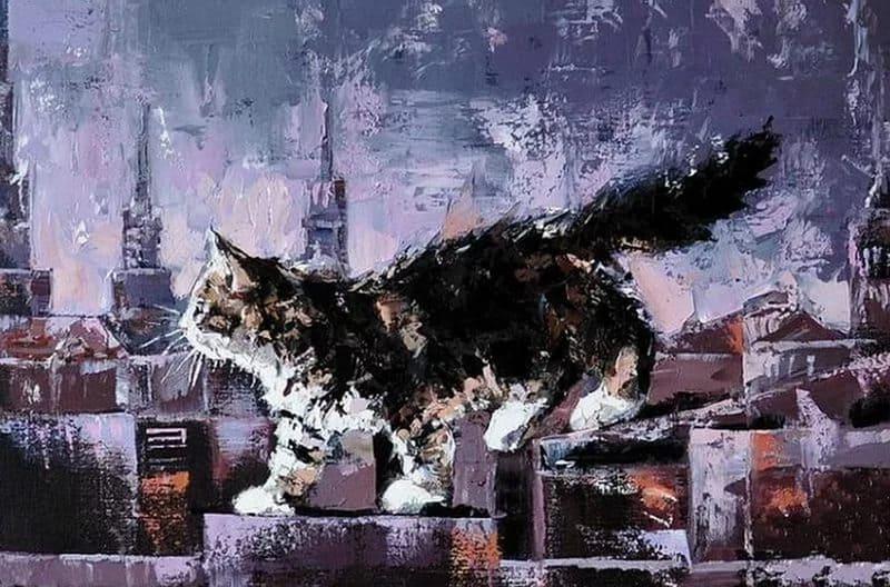 Художник Александр Гунин. Синий дождь и чёрный кот… Я люблю твои глаза