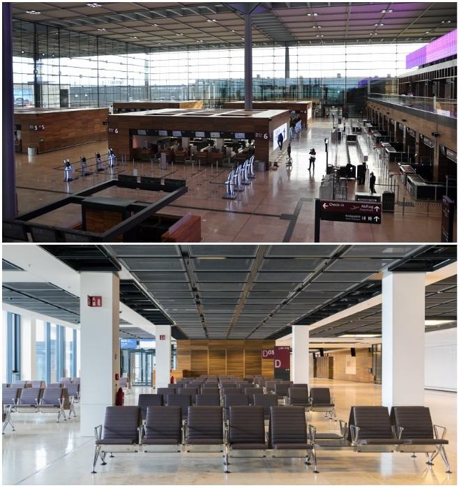 Вместо анонсированного стиля high-tech в оформлении интерьера аэровокзала пассажиров встретили а-ля 90-е.