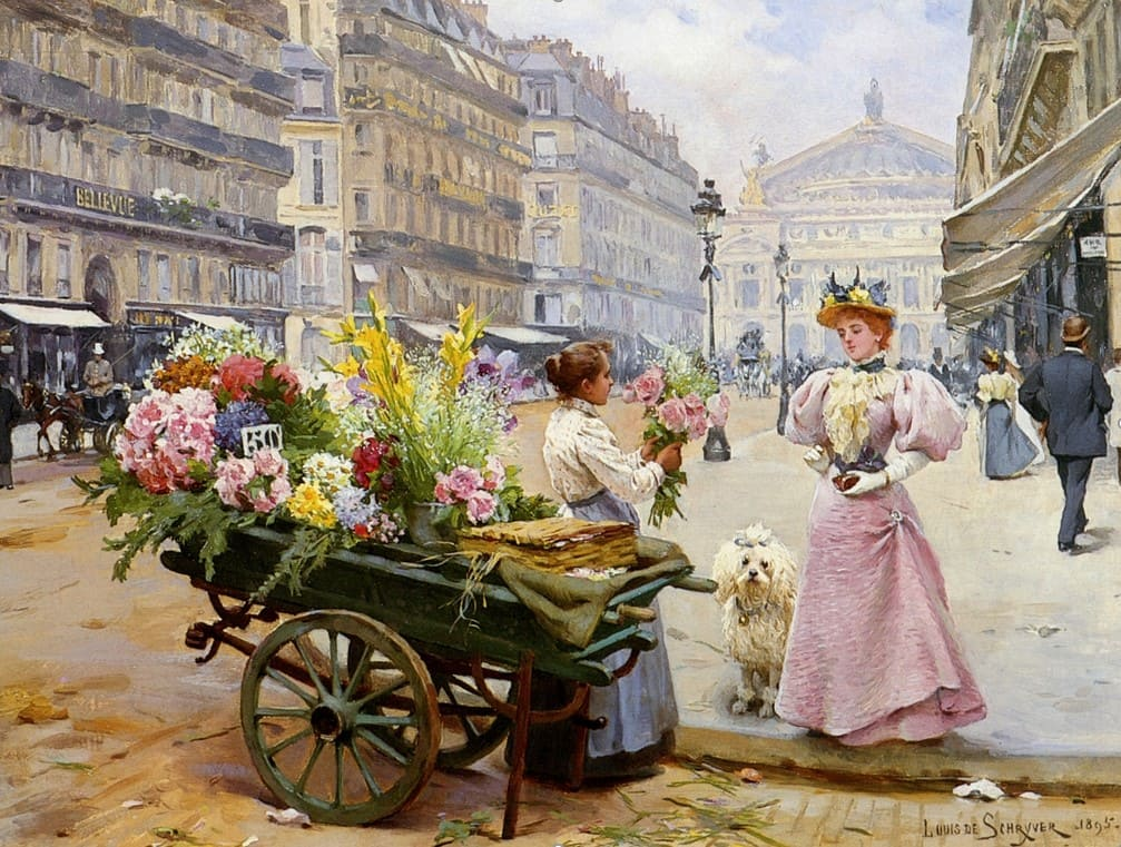 Художник Louis Marie de Schryver (1862 – 1942). Цветы Парижа