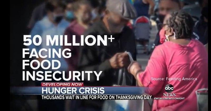 Число голодающих американцев достигло 50 миллионов