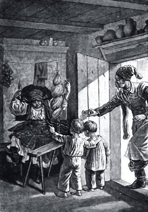 Дывысъ, дывысь, маты, мов дурна, скаче. Иллюстрация Р. Штейна к повести Гоголя «Пропавшая грамота»