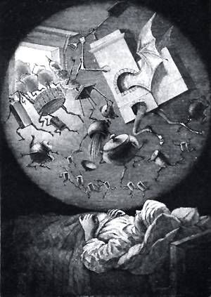 Печь ездила по хате, выгоняя вон лопатою горшки, лоханки... Иллюстрация Р. Штейна к повести Гоголя «Пропавшая грамота»