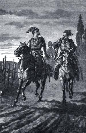 Было давно под вечер, когда выехали они в поле. Иллюстрация Р. Штейна к повести Гоголя «Пропавшая грамота»