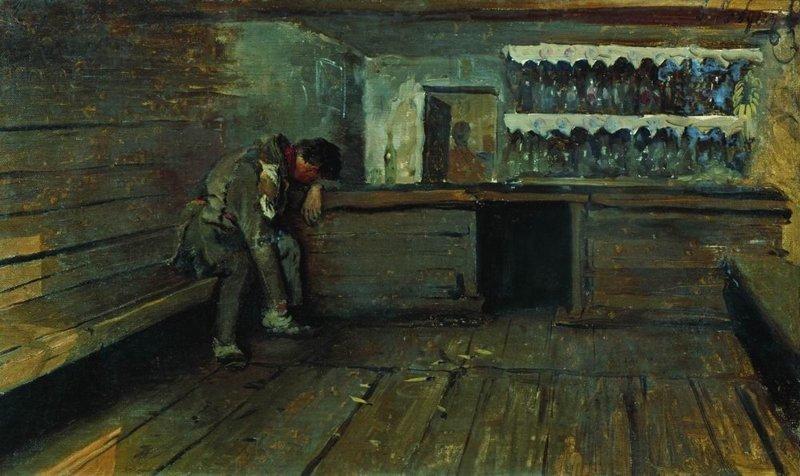 Рябушкин А.П. «Кабак». 1891 г. Картон, масло. 39 x 64 см. Государственная Третьяковская галерея, Москва, Россия.