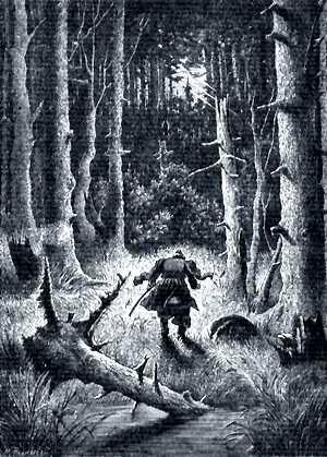 И, будто зарницею, осветило на минуту весь лес. Иллюстрация Р. Штейна к повести Гоголя «Пропавшая грамота»