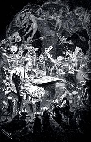 Шапку отдадим тебе, только не прежде, пока сыграешь с нами... Иллюстрация Р. Штейна к повести Гоголя «Пропавшая грамота»