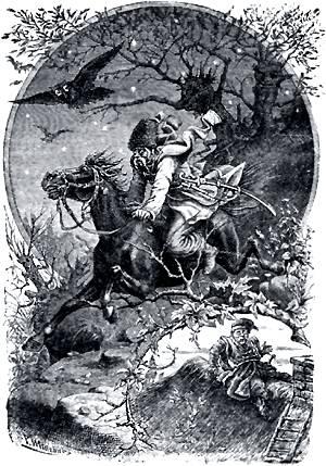 онь, не слушаясь ни крику, ни поводов, скакал через провалы и болота. Иллюстрация Р. Штейна к повести Гоголя «Пропавшая грамота»