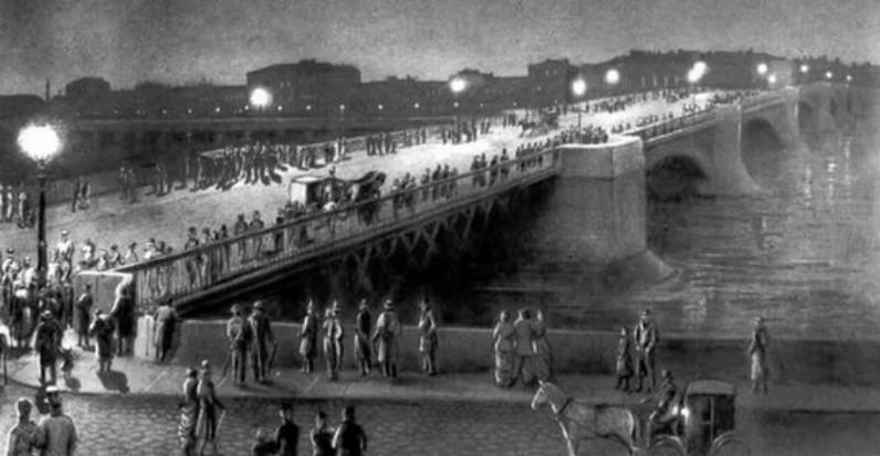 Как освещали первый в мире электрифицированный мост