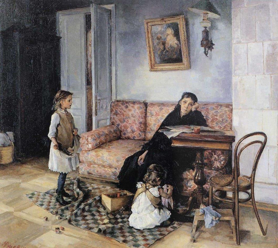 Художник Антонина Ржевская (1861 – 1934). Весёлая минутка, как знак оправдания