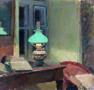 Зеленая лампа. Художник Калиниченко Яков Яковлевич, 1890