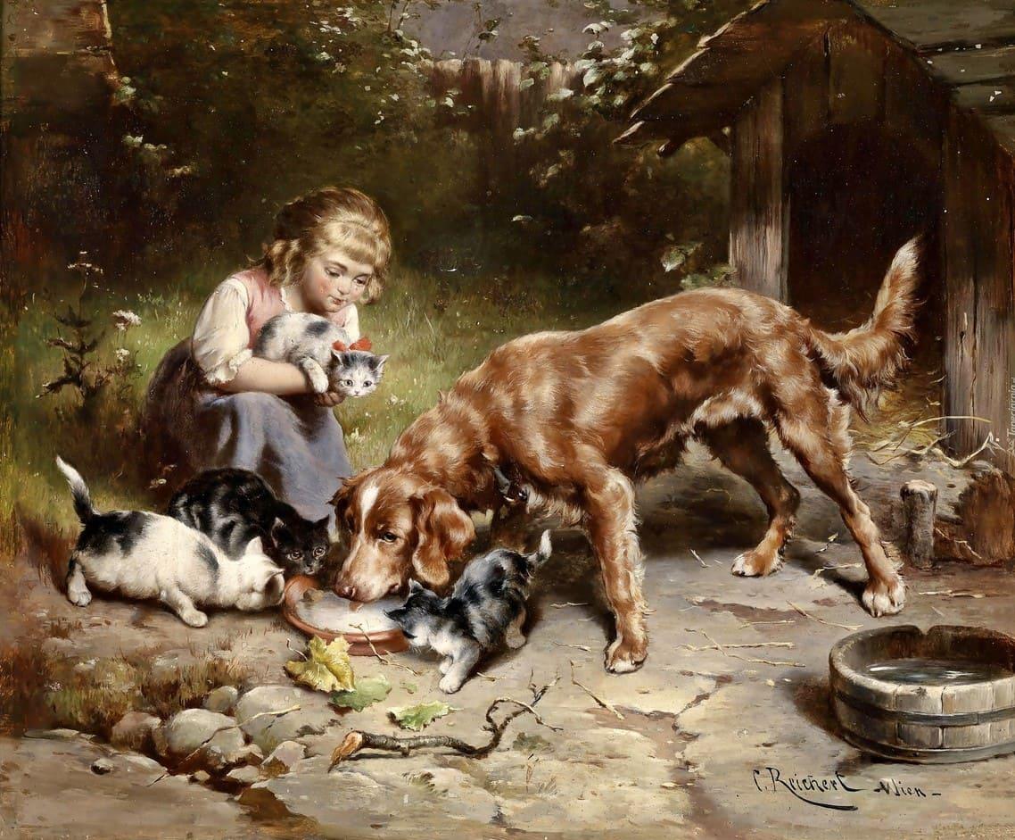 Художник Carl Reichert (1836 – 1918). У людей не бывает таких любящих глаз