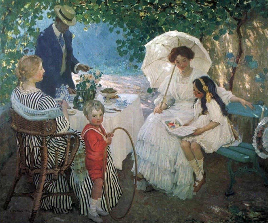 Художник Emanuel Phillips Fox (1865 – 1915). Счастье в зелёной беседке