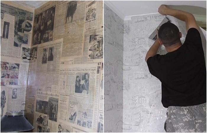 Сначала на стены нужно наклеить газеты, а потом обои. / Фото: pinterest.ru