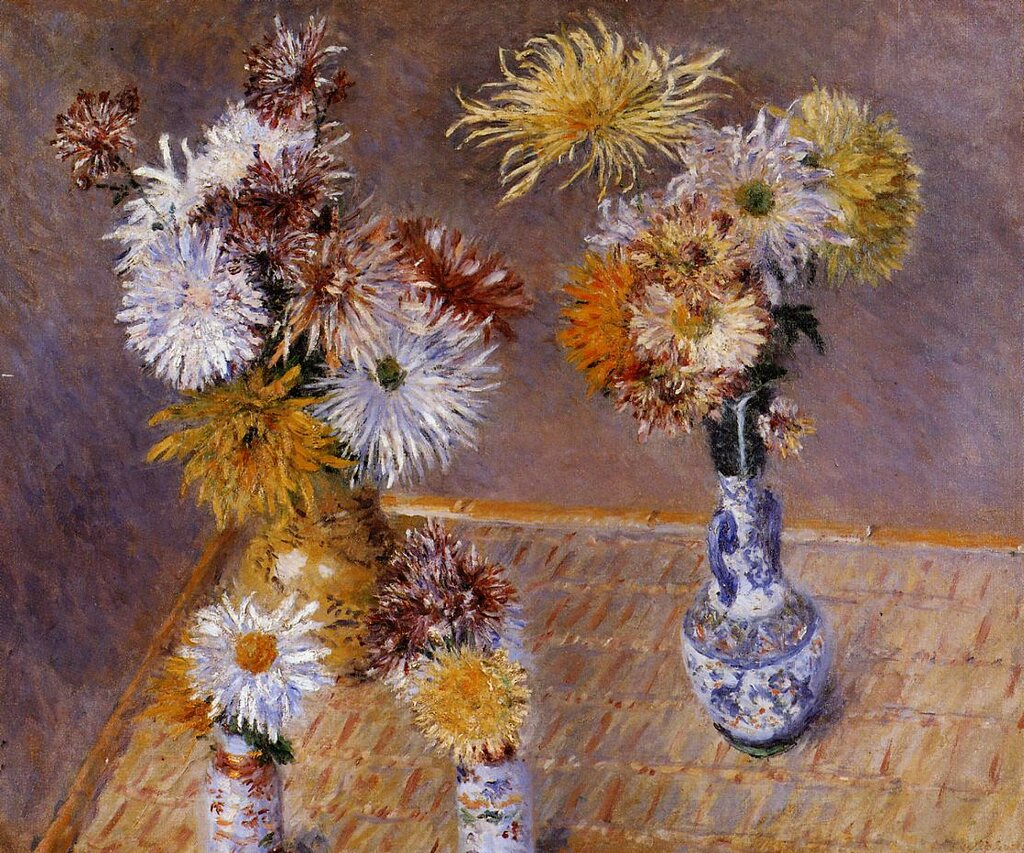 Four Vases of Chrysanthemums  -  1893 - Private collection - Painting - oil on canvas.jpg