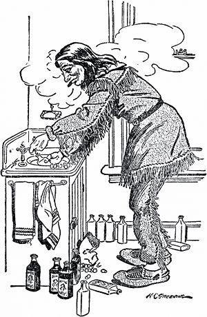 """Жизнь снова показалась мне прекрасной, когда я достал себе в гостинице номер, где из крана текла вода, и бутылки с """"Настойкой для Воскрешения Больных"""" дюжинами стали выстраиваться передо мной на столе. Иллюстрация Х. Грининга к рассказу «Джефф Питерс как персональный магнит» О. Генри. Издание 1919 г."""