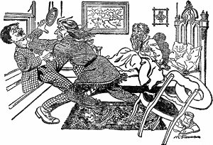 — Ну, это мы еще посмотрим! — говорю я, хватаю его за горло и чуть не выбрасываю из окна. Иллюстрация Х. Грининга к рассказу «Джефф Питерс как персональный магнит» О. Генри. Издание 1919 г.
