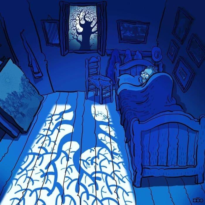 Ван Гог в современном искусстве. Иранский художник Алиреза Карими создает удивительные иллюстрации