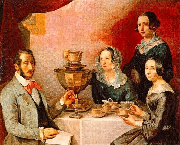 "Картина Т.Мягкова ""Семейство за чайным столом"", 1844"