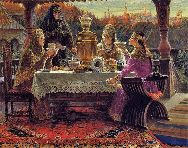 В картине В.Россохина явный анахронизм - самовар, который появился уже в 18-м веке, и наряды 15...16 веков. Но тематично...