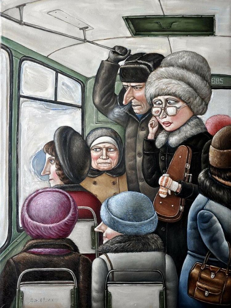 Картины Анжелы Джерих: добрая ирония в советском духе  12