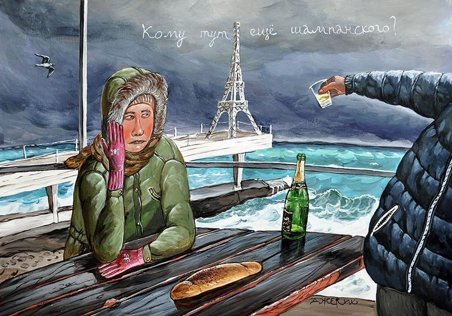 Картины Анжелы Джерих: добрая ирония в советском духе  14
