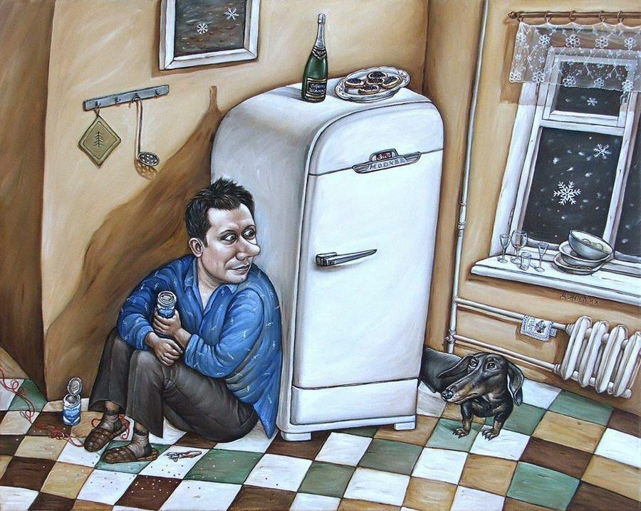 Картины Анжелы Джерих: добрая ирония в советском духе  34