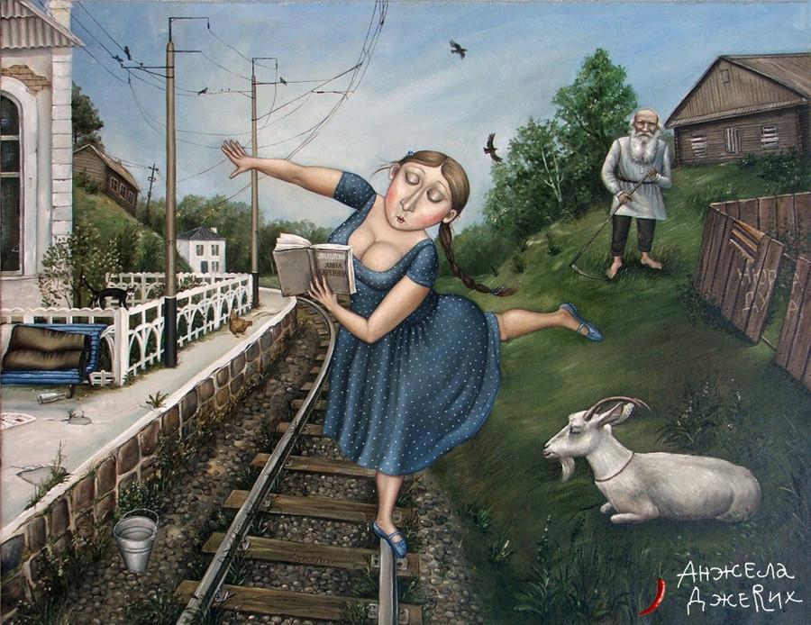 Картины Анжелы Джерих: добрая ирония в советском духе  55