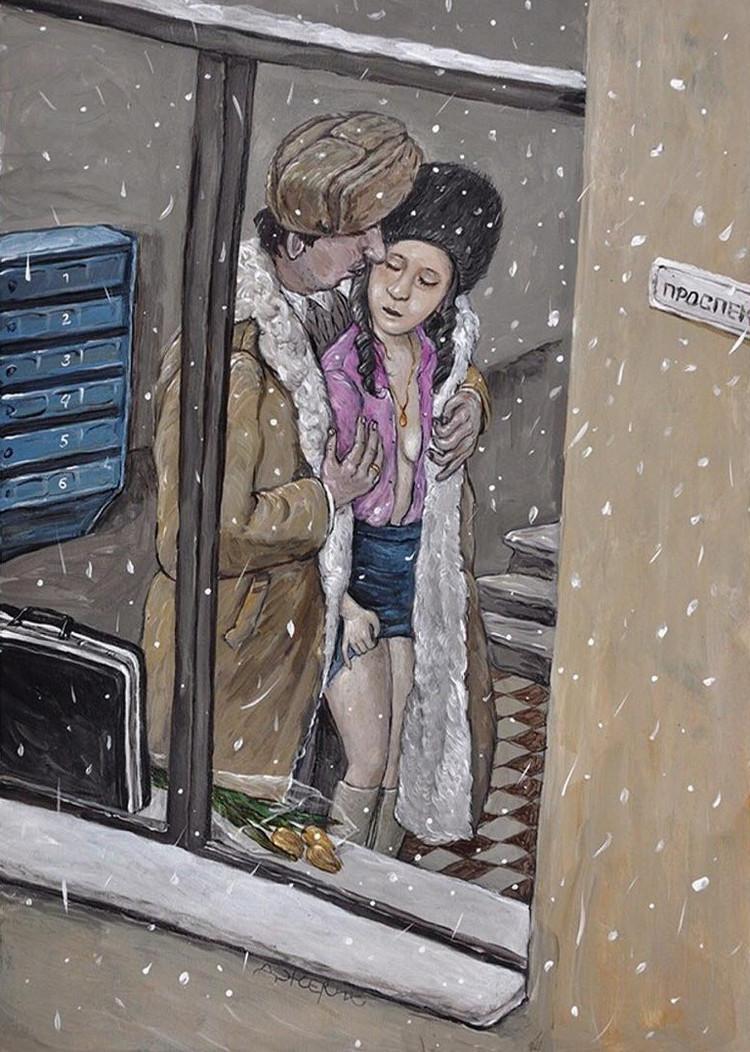 Картины Анжелы Джерих: добрая ирония в советском духе  6