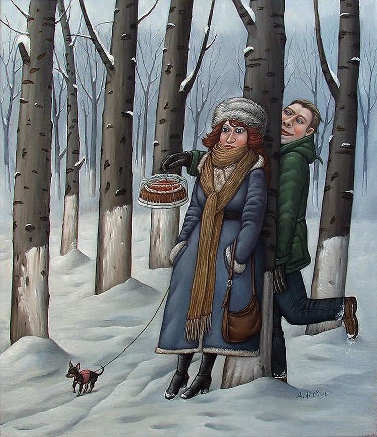 Картины Анжелы Джерих: добрая ирония в советском духе  64