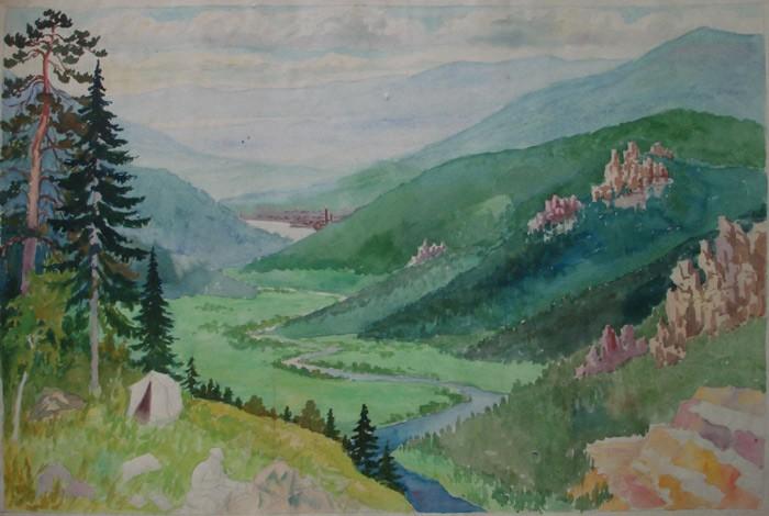 Эскиз. Геолог вблизи Златоуста, 1930-е гг.