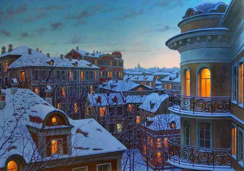 Работы художника Евгения Лушпина. Огни городов